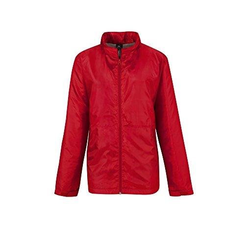 B&C - Chaqueta con capucha modelo multi active para mujer Rojo/gris