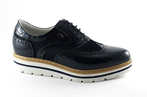 NEGRO JARDINES 7212 zapatos de cuero azul marino zapatos gruesos cordones inglés Blu