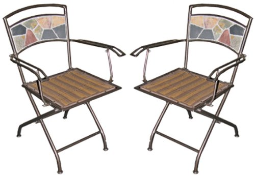 UPC 895033001656, Deeco CP DM10191 Rock Canyon Folding Chair (Pair) with Wrought Iron Powder Coated Frame and Slate Tiles