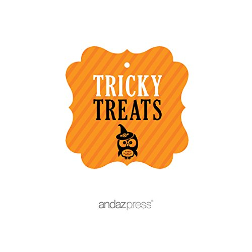 Andaz Press Classic Black and Orange Halloween Party Collection, Tricky Treats Fancy Frame Gift Tags, 24-Pack