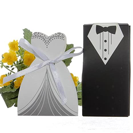 Tyrrdtrd Caja de caramelos para boda multicolor vestido y tuxedos para novia y novio con cinta para fiesta de boda 100 unidades