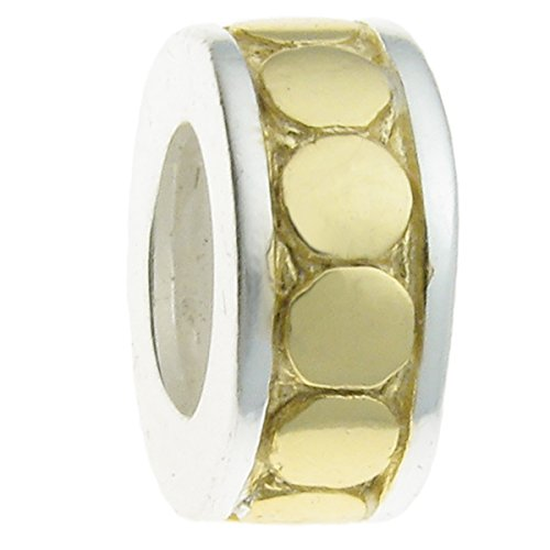 Sterling Silver Focal Round Dot 2-tone Stopper with Rubber Bead for European Charm - Bead Dot Focal