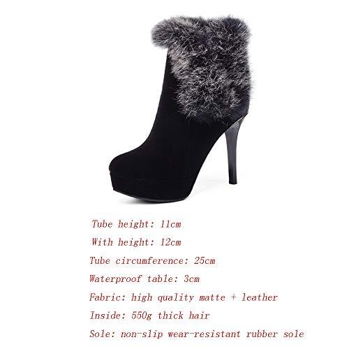 Stivali Opaca stivali Con Stiletto Personalizzato Effetto A V Aperti Tacco Alto Pelle Pelliccia Rosso Realizzati Shirloy Donna Forma In 60qzfA6wd