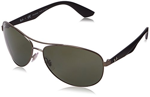 Ray-Ban RB3526 Aviator Sunglasses, Matte Gunmetal/Polarized Green, 63 -