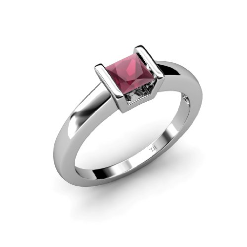 Rhodolite Garnet Princess Cut Channel Set Solitaire Ring 1.05 ct in 14K White Gold.size 9.0