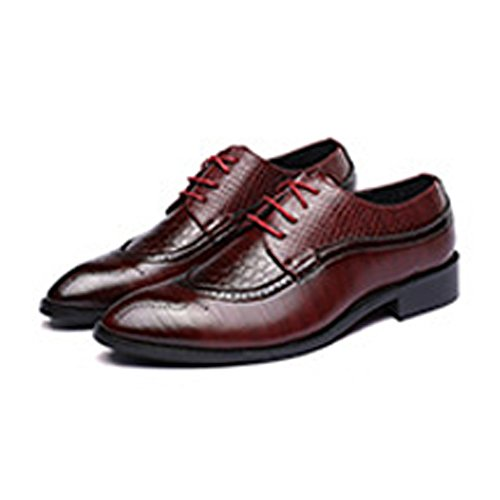 - Sunny&Baby Men's PU Leather Shoes Wingtip Snake Skin Texture Vamp Lace Up Business Block Heel Lined Oxfords Abrasion Resistant (Color : Wine, Size : 10.5 D(M) US)