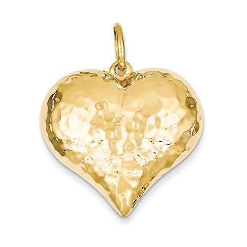 Heart Gold Puffed Hammered (14k Hollow Polished Hammered Large Puffed Heart Charm, 14 kt Yellow Gold)