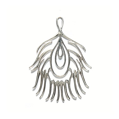 Amoracast Sterling Silver Pendant Peacock Feather 28x37mm 28 x 37mm