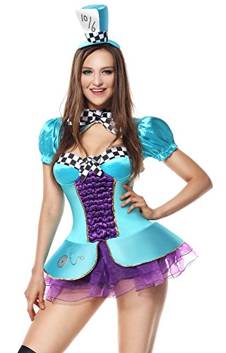 Sibeawen Women's Sexy Totally Mad Plus Size Costumes Blue Large/X-Large (Sexy Mad Hatter Costumes)