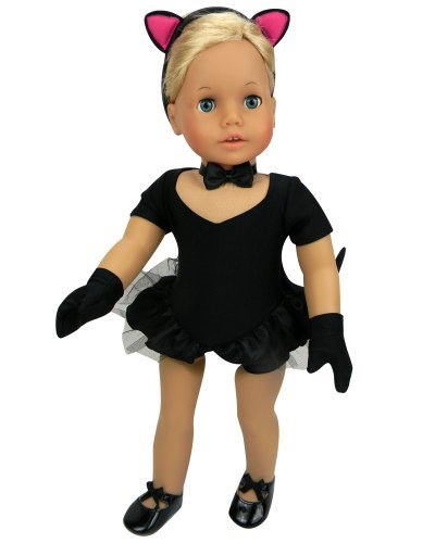 Doll Jazz Costume, 2 in 1 | 5 Pc. Set. Jazz or Cat Costume by Sophia's Perfect Fit for American Girl Dolls and More! (Doll Tap Shoes Sold Separately) Jazz Cat Costume