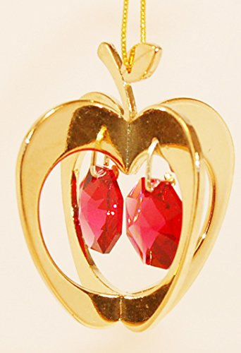 24K Gold Plated Hanging Sun Catcher or Ornament..... Apple With Two Red Swarovski Austrian (Apple Suncatcher)