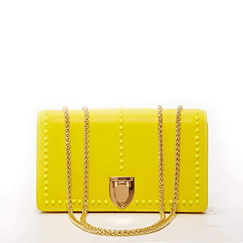 (Mustard Yellow Crossbody Bags for Women Leather Crossover Purse with Studs Double Chain Over the Shoulder Bag Studded Trendy Cross body Fashionable Chic Purses and Handbags with Credit Card Slots)