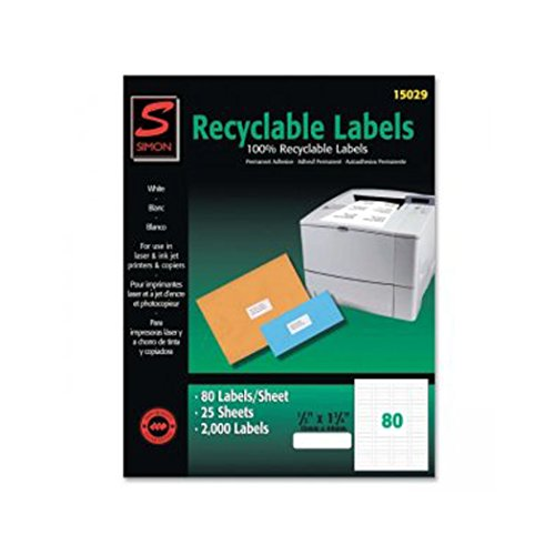 Labels, SJ Paper recyclable laser/injet labels, Self-adhesive (2k/Box)