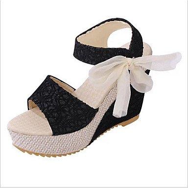 LvYuan Mujer-Tacón Cuña-Confort Zapatos del club-Sandalias-Oficina y Trabajo Vestido Informal-Tul PU-Negro Blanco Almendra Black