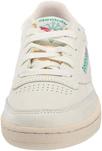 41z5TyAoJpL. AC Reebok Women's Club C 85 Vintage Sneakers    ImportedRubber soleShaft measures approximately low-top from archDURABLE AND LIGHTWEIGHT MATERIAL: These sneakers feature soft garment leather upper for full-foot support with terry lining on tongue top and heel for comfort with vintage woven Reebok label that adds appeal and styleEFFICIENT FOOT SUPPORT: Die-cut EVA midsole absorbs impact and a padded foam sockliner provides responsive cushioning support which lasts many strolls and jogsCOMFORTABLE AND STURDY DESIGN: Low-cut design gives a sleek and sophisticated silhouette with freedom of motion and quicker transition keeps you moving all day longHIGH-PERFORMANCE CASUAL SHOES: High abrasion rubber outsole adds durable responsiveness; Ideal for daily, casual and athleisure wear