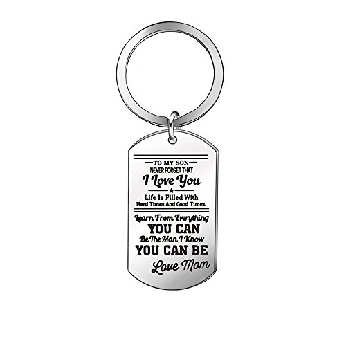 Niceter Birthday Gift for Son - Personalized Key Chain Ring,Graduation Gift,Back to School -