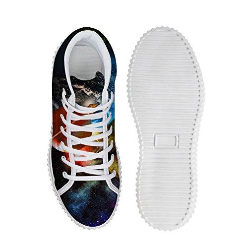 Kramar Idé Mode Färg Galaxy Kvinnor Skor Plattform Sneakers Planet