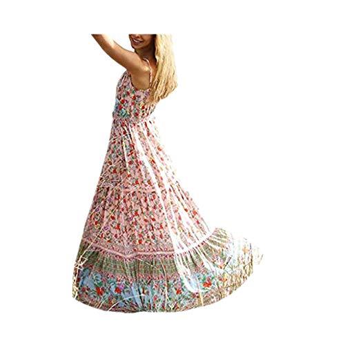 Women Boho Dress Casual Floral Tropical Maxi Dresses Vintage Loose Empire Waist Spaghetti Strap Chiffon Beach Long Dress Pink