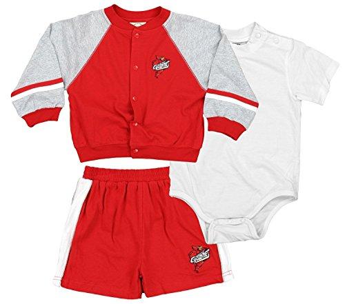 Iowa State Cyclones NCAA Baby Boys Jacket, Creeper, & Shorts Set, Red & Grey