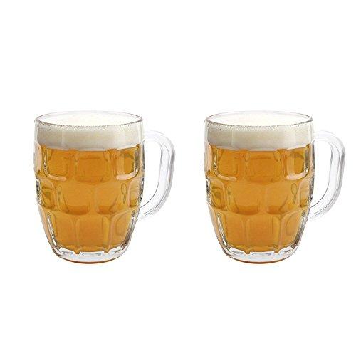 Beer Stein Mug - Libbey Dimple Stein Beer Mug - 19.25 oz (2 Pack) w/ Pourer