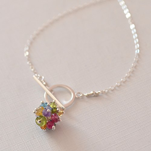 Ball In Lariat Necklace (Gemstone Toggle Necklace in Sterling Silver with Rainbow)
