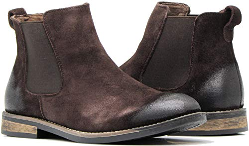 - Enzo Romeo BL01 Men's Chelsea Boots Dress Fashion Slip On Suede Leather Ankle Boots (8.5 D(M) US, Brown)
