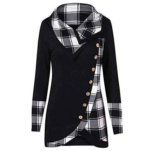 Womens Plaid Tops Long Sleeve Button Patchwork Turtleneck Tartan Tunic Sweatshirt Pullover Blouse Tee