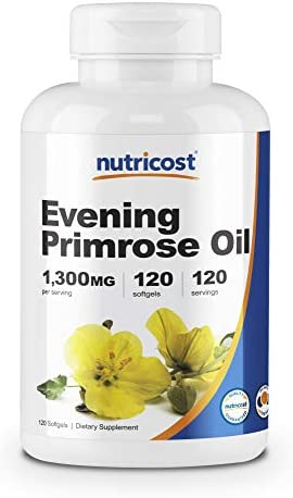 Nutricost Evening Primrose Oil 1,300mg, 120 Softgels – Cold Pressed, Non-GMO, Gluten Free, 120 Servings