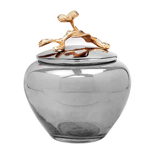 - Decozen The Milli Collection Glass Cotton Jar in Black Luster Gold Finished Brass Branch Handle Decorative Jar with Lid Ideal for Bathroom Bedroom Kitchen Spacious Cotton Ball Storage Jar