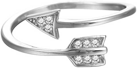 Adjustable Cupid Arrow Crystal Zircon Ring Women Girls 925 Sterling Silver Gift Jewelry Wedding