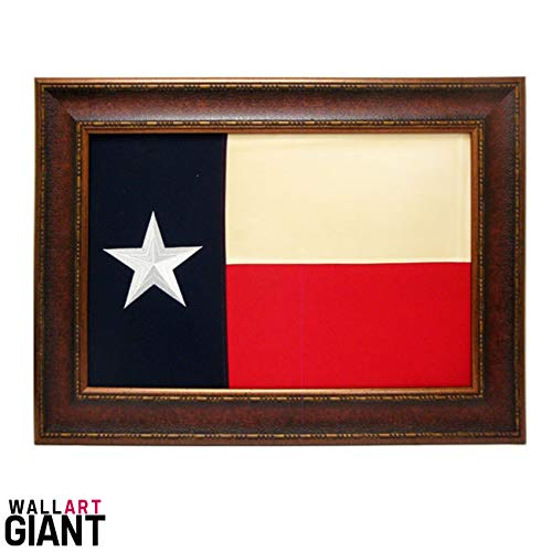 (Wall Art Giant ANTIQUE AND HISTORIC ART - ANTIQUE COTTON CLOTH EMBROIDERED TEXAS FLAG FRAMED UNDER GLASS- 32X44 INCHES)