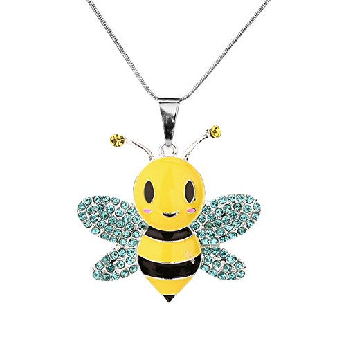 Vinjewelry Yellow Bumble Bee Chunky Rhinestone Pendant Necklace Girls Jewelry