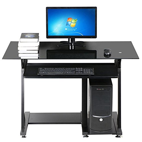 Yaheetech Modern Glass Top Computer Desk Home Office Desk With Keyboard Shelf Black Yaheetech