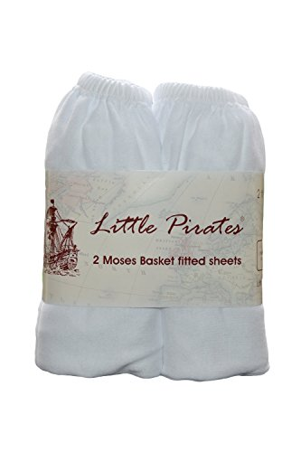 2 pack Baby Pram/Moses Basket Oval Jersey Fitted Sheet 100% Cotton White 12'x30' (30x75cm) from Little Pirates