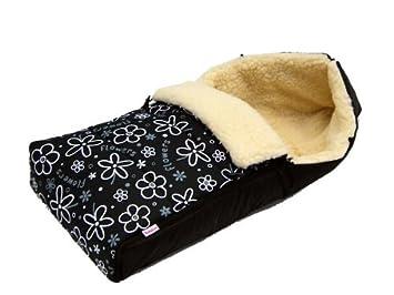 Babylux Fußsack Lammwolle 90cm Winterfußsack Kinderwagen Babyschale Fußsack Schwarz Blumen 6 Baby