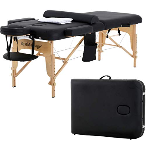 Massage Table Massage bed SPA Bed 2 Fold Massage Table Heigh Adjustable 73'' Long PU Portable Salon Bed W/Half Bolsters Sheets Carry Case (Renewed)