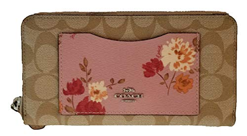 Coach F73011 Painted Peony Signature Accordance Zip Clutch Wallet Carnation