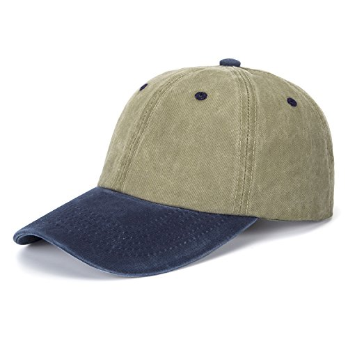 68b533f5670 ZOMOY Unisex Classic Washed Dyed Cotton Baseball Cap Two Tone Low Profile  Six Panel Adjustable Vintage Hat (Army Green+Navy Blue)