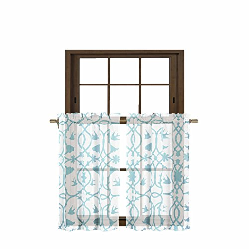 Bathroom and More Collection 2 Piece SHEER Window Curtain Tier Set White with Blue Bird, Flower & Vine Design Size 27in W x 36in L Each (Pair (2) Tiers 36in ()