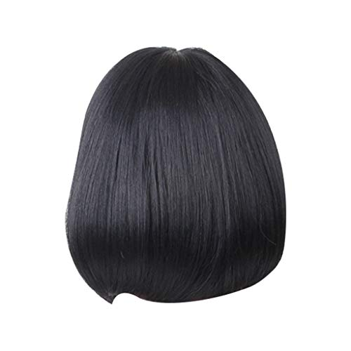 Jaromepower 12'' Short Straight Bob Wig Brazilian Glueless Black Lace Front Wig,Indian Remy Synthetic Full Baby Hair Wigs for Women Natural Looking Heat Resistant Human Hair Wigs With Bangs