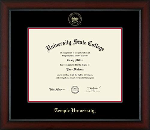 Temple University - Officially Licensed - Gold Embossed Diploma Frame - Diploma Size 14