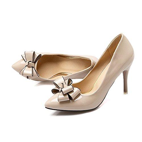 tacchi Pelle on Chiusa Allhqfashion calzature Solido Punta Beige Pull Donne Verniciata Delle Rilevare Pompe HraqZ0Hw