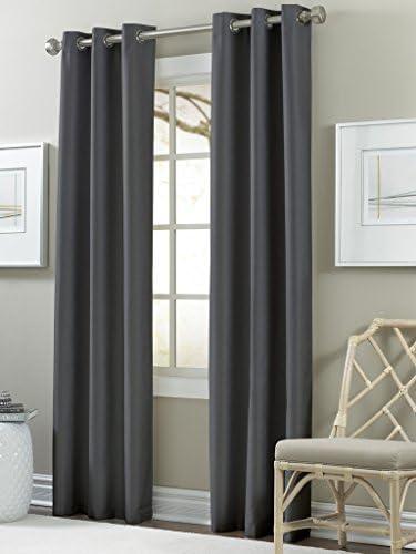 Amrapur Overseas Textured Blackouut Curtain Panel Pair