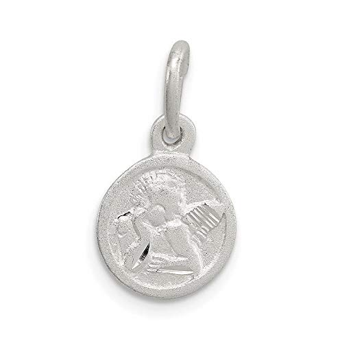 Sterling Silver Diamond Cut Cherub Disk Charm (0.7in x 0.4in) Vintage Crafting Pendant Jewelry Making Supplies - DIY for Necklace Bracelet Accessories by CharmingSS