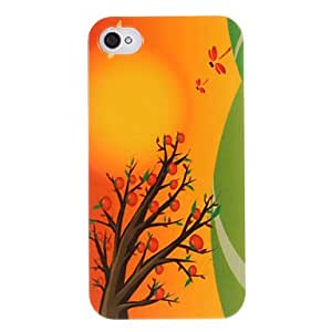PEACH- Cartoon Tree and Dragonfly Pattern ABS Back Case for iPhone 4/4S
