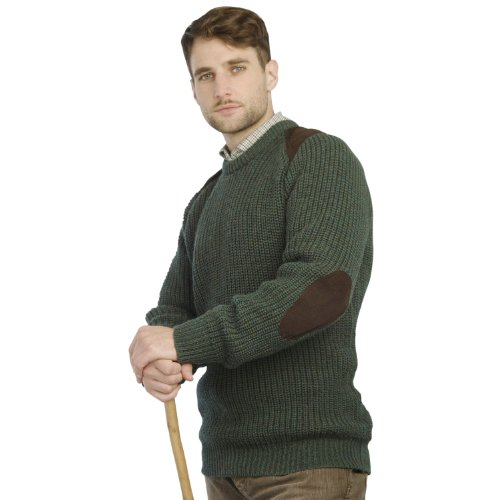 Fishermans Rib Sweater with Patches, Moss, Medium -