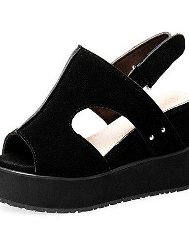 LFNLYX Chaussures Femme-Extérieure / Habillé / Décontracté-Noir / Rouge / Gris / Amande-Talon Compensé-Compensées-Sandales-Laine synthétique , red , us6 / eu36 / uk4 / cn36