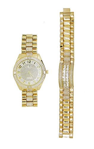 Rich and Famous Easy Reader Dial Iced Out Hip Hop Mens Watch and Matching Bling Bling ID Style Designer Link Bracelet - 8546B Gold (Watch Style Bling)