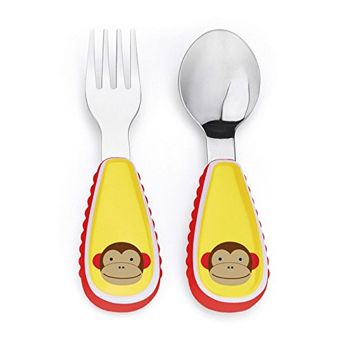 Skip Hop Baby Zoo Little Kid and Toddler Fork and Spoon Utensil Set, Multi Marshall Monkey