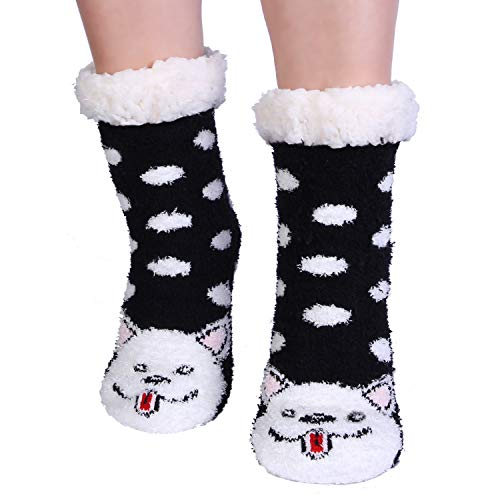 Dog Cozy Fuzzy Slipper Socks with Grippers for Women Cute Animal